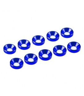 WASHER CONICAL ALU. M3 BLUE (10)