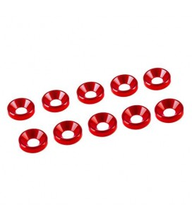 WASHER CONICAL ALU. M3 RED (10)