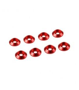 3MM ALUMINIUM CAP HEAD WASHER RED (8)